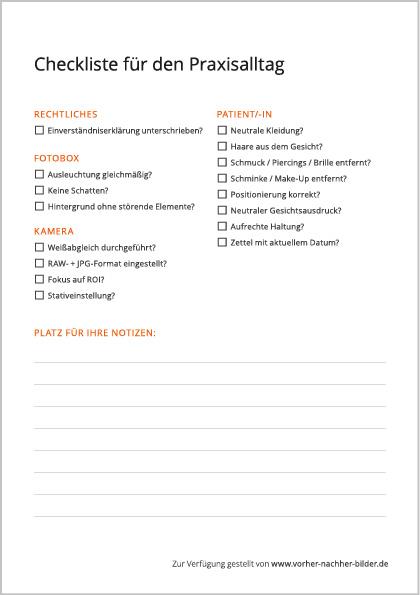Vorher-Nachher-Bilder Checkliste